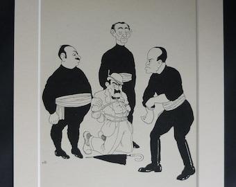 1920s Antique Caricature Print of Benito Mussolini, Satire Gift, Available Framed, Satirical Art Vintage Anti-Fascist Decor, Nicolas Bentley