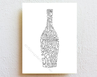 Wine Bottle Wall Art Print, typography art, kitchen art dining decor, modern minimalist bar sign, winery/restaurant decor, wine lovers gift,