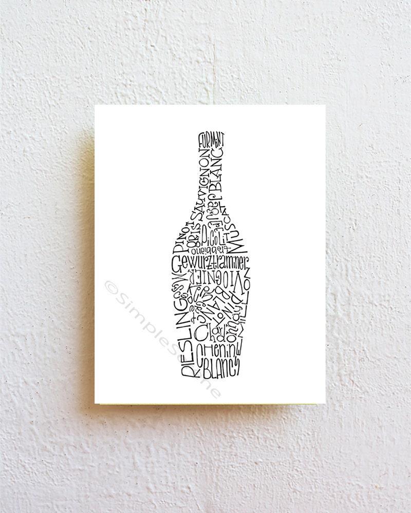 Wine Bottle Wall Art wine bottle wall art print typography art kitchen art dining