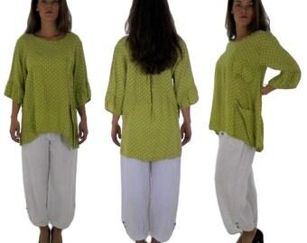 HF200GN44 tunic blouse layered look linen Gr. 44 Green