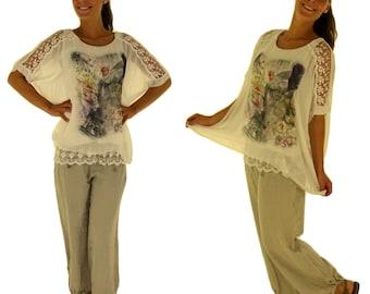 GC700 Damen Tunika Vintage Bluse Seide Gr. S-L beige