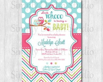 Digital OWL GIRL Sweet Chevron Baby Shower Invitation Pink BlueYou Print