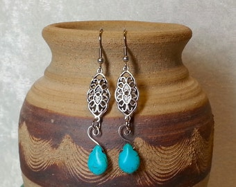 Boho Chic Earrings - Native American Inspired - Boho Silver and Turquoise Earrings - Gypsy Jewelry