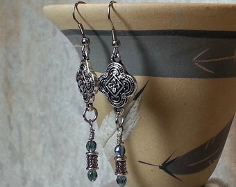 Boho Chic Gypsy Antique Silver Earrings - Floral Filigree - Faceted Glass Blue Aurora Borealis Bead