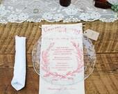Wedding Menu Card, Chic Laurel wreath - Printable file