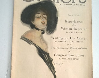 CLEARANCE Collier's August 1909 Antique Magazine American Weekly Newsprint Fashion Advertisement Stories World Events Gibson Girl Art