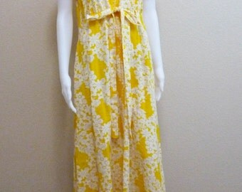 Yellow Cotton Summer Dress Medium Joseph Magnin Floral Print