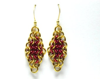 Chainmaille Earrings | Hand Crafted Chainmaille Jewelry | Handmade Earrings | Red and Gold | Anodized Aluminum