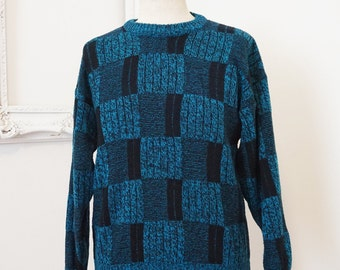 Blue and Black Graphic Vintage Acrylic Sweater Men Sz Medium