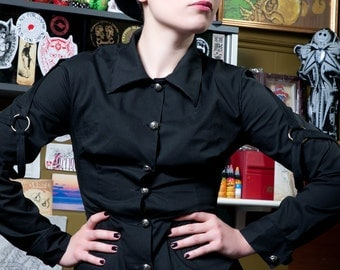 Last One! Black poplin long sleeve shirt female division military woman girlie punk rock girl - Limited Edition Handmade in Italy