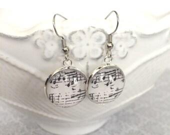 Music Earrings / Music Jewelry (Nickel Free) / Sheet Music (Gray - Black & White)