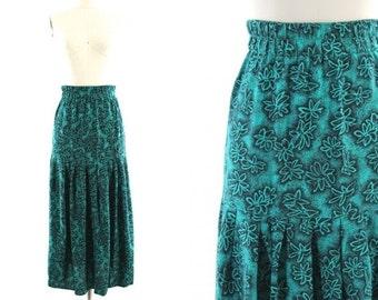 80s teal blue skirt / flowered maxi skirt / long drop waist skirt S/M