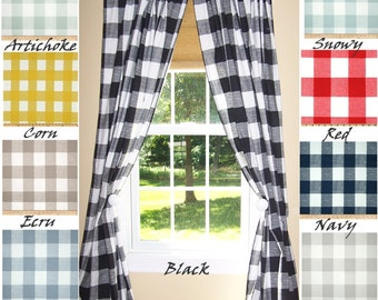 "BUFFALO CHECK CURTAINS, 9 Colors,Black Curtains,Large Check Curtains, Buffalo Check,Pair Drapery Panels,24"" Wide,52"" Wide,Valance"