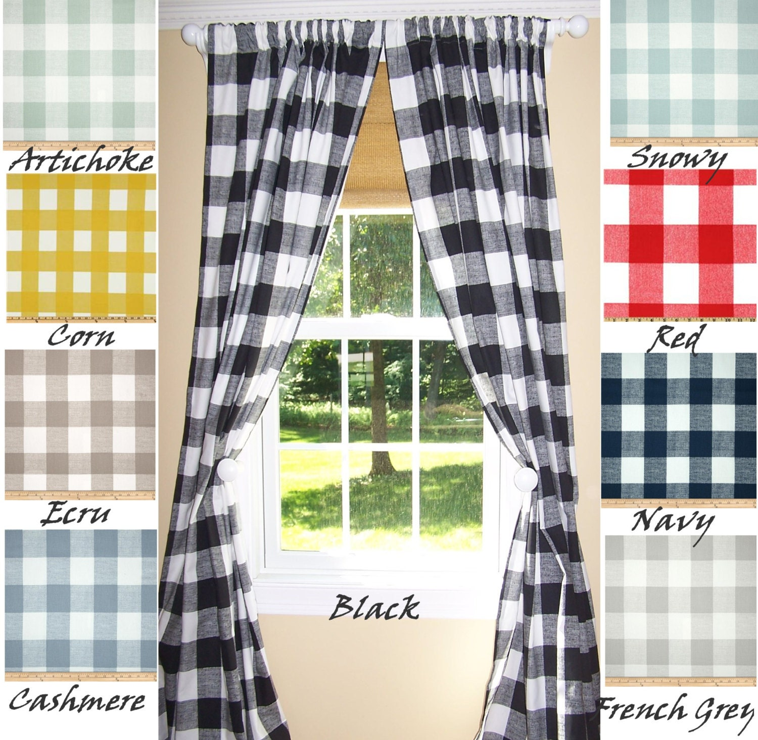 Buffalo Check Curtains 9 Colorsblack Curtainslarge Check