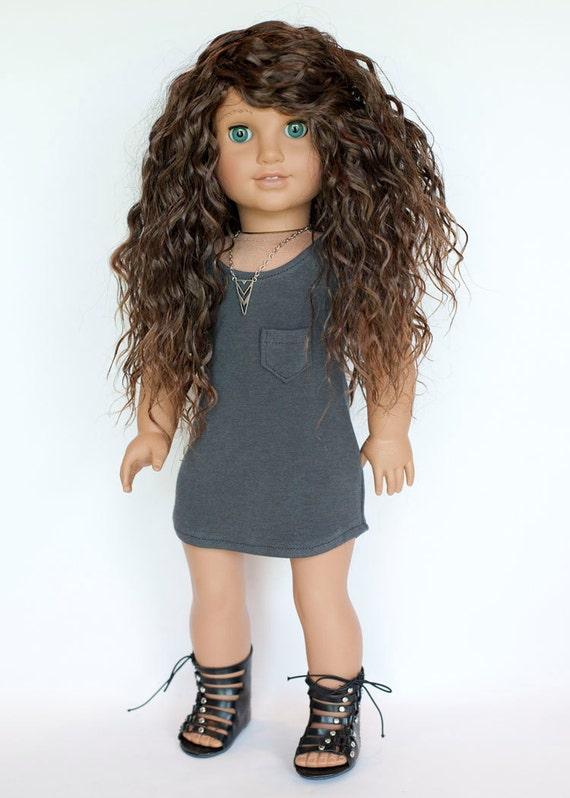 American girl doll grey knit t shirt dress for American girl t shirt craft