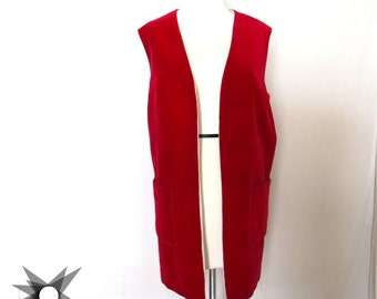 Vintage 1960's Red Velvet Oversized Long Vest Size Medium/ Large