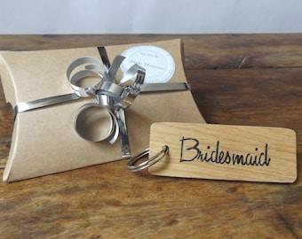 Bridesmaid keyring for Bridal Party Bag- Oak wood keyring - Wedding Favour - Bridesmaid gift - Hen party - Maid Of Honour - Wedding Keepsake