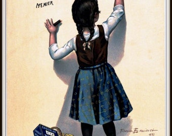 Art Print Chocolate Menier Schoolgirl Advert 1893 Print 8 x 10