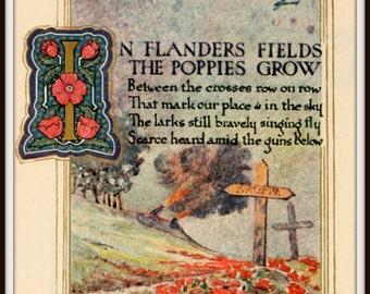 Art Print Flanders Fields Old Book Illustrations Print 1914-18, WWI  8 x 10