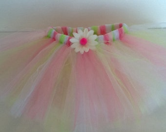 Pink, lime, and white tutu