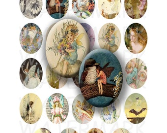 99 Cent Sale - Vintage Fairies - Digital Collage Sheet   - 30x40mm Ovals - INSTANT DOWNLOAD