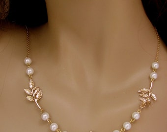 Pearls and Leaves necklace Bridal White Woodland wedding gold and white Swarovski pearls  nature short antique gold