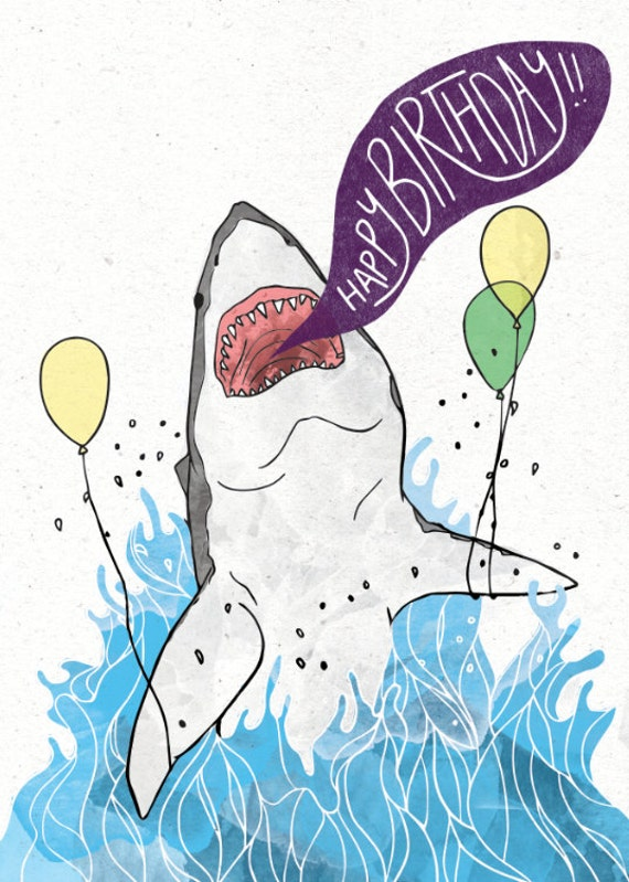 great white shark birthday card w/ customizable message option, Birthday card