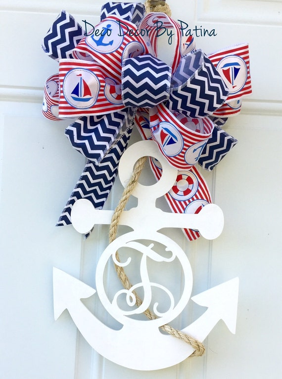 Items similar to monogram anchor monogram anchor door for Anchor door decoration