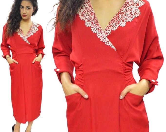 Vintage 80s Krazy Katz Secretary Lace Collar Dress