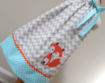 Woodland Fox Grey and Aqua Chevron & Polka Dot Pillowcase Dress