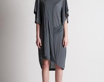 30% Season Off_Monica Kate Unsymmetrisch Tencel Dress_Charcoal Gray