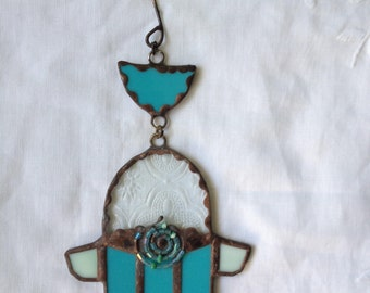 HANDMADE Mini HAMSA HAND Transparent and Turquoise Color with Beads.Ethnic Tiffany Stained Glass,Wall Hanging,Original Art Decor,Unique Gift