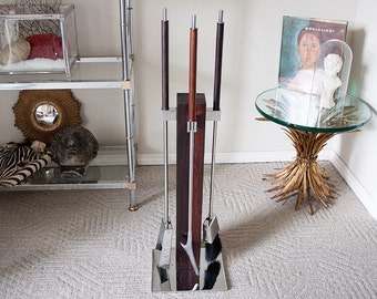 Vintage Albrizzi mid century fireplace tool set wood chrome fire tools modern decor