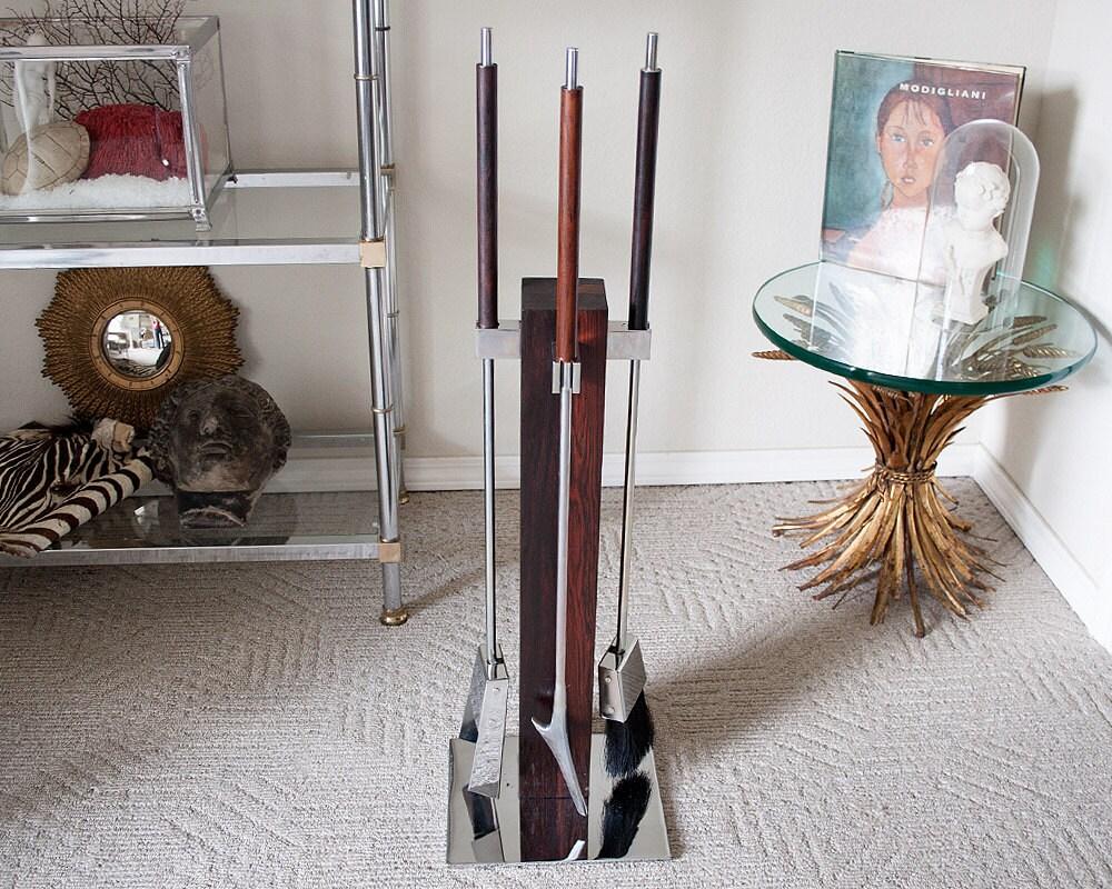 vintage albrizzi mid century fireplace tool set wood chrome
