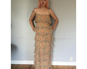 Incredible Tiered Floral 60s Dress with Matching Headscarf