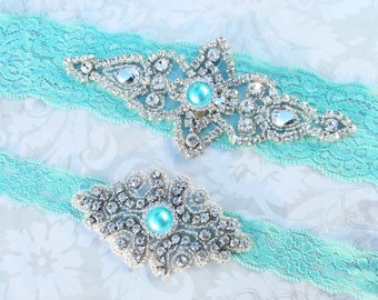 Wedding Garter Set - Something Blue Bridal Garter - Aqua Blue Lace Garter with Blue Pearl and Rhinestone Crystal Bridal Garter and Toss
