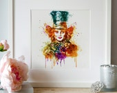 The Mad Hatter watercolor painting, instant download, wall art, colorful portrait, Alice in Wonderland, celebrity art, orange,watercolor art