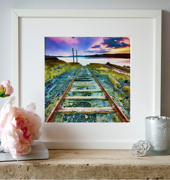 Railway Track Train Watercolor Landscape Wall art Instant download Aquarelle Illustrations Square painting Train track Printable art