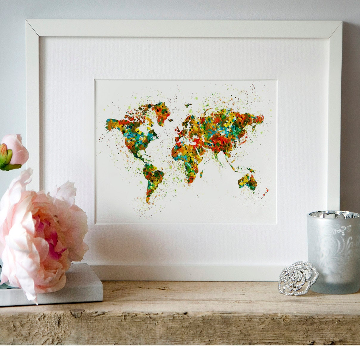 Karte der welt aquarell wand kunst digital map kartographie for Decor mural grand format