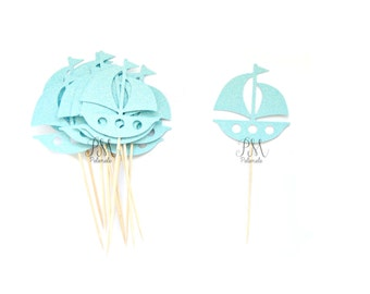 12 Glitter Sailboat Cupcake Toppers - Nautical Cupcake Topper, Sailboat Food Picks, Nautical Party Treat Picks, Ocean Party, Beach Party