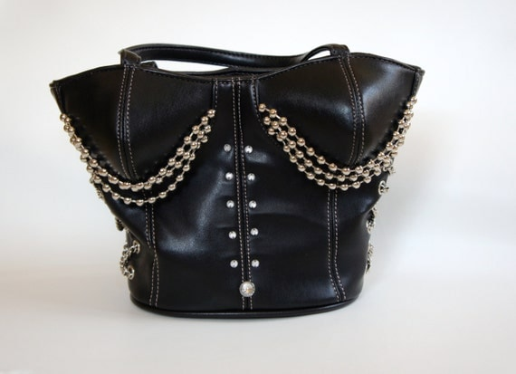 Black corset handbag, black vintage purse, black leather handbag, chained bag, rock goth fetish body shape bag