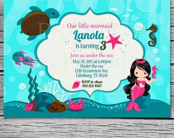 Mermaid Invitation Birthday Mermaid Party Invite Under the sea mermaid (digital file) - Printable invitation - little mermaid