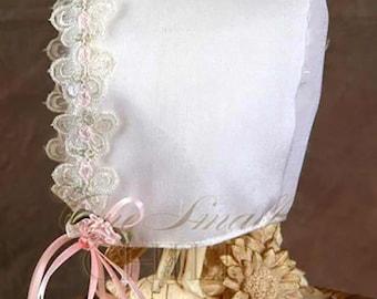 Candice Silk Christening Bonnet, Silk Baptism Bonnet, Blessing Bonnet for Baby Girl's