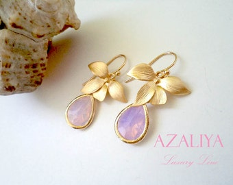 Wild Orchid Opal Chandeliers Gold. October Birthstone. Jade Earrings. Azaliya Luxury Line. Wedding. Bridal, Bridesmaids Earrings. Gifts.