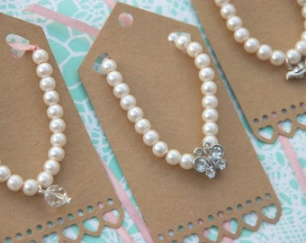 Pretty Personalised Pearl Bracelets for Little Bridesmaids / Flower Girl with Ribbon & Charm