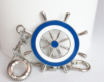 Blue White Steering Wheel Lifebuoy Key Chain Bag Charm KC141