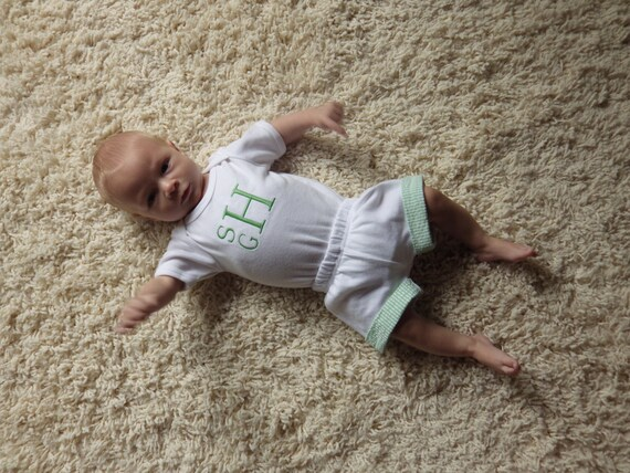 Newborn Coming Home from Hospital Outfit. Monogram Bodysuit.