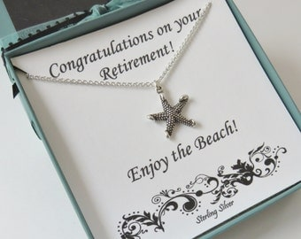 Retirement Gift for Women, Starfish Necklace, Graduation Gift, Sterling Silver Starfish Necklace, Beach Jewelry, Retirement Gift, MHD