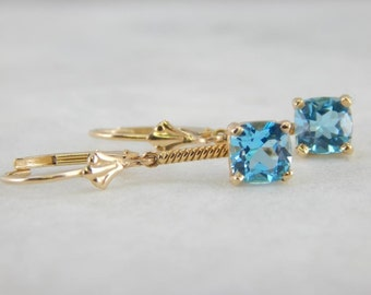 Blue Topaz Earrings with Gold Drops L47ZZ0-D
