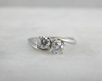 Double Diamonds, Two Stone Vintage Jabel Engagement Ring, Toi et Moi, C91449-N